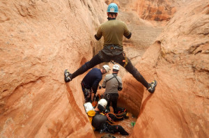 Unless you're the lead dog, the view never changes. Christian Feinauer, MD, trying not burn his bridge while canyoneering