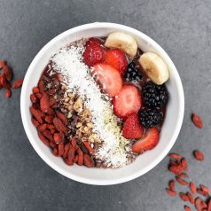 "Pictured is a bowl of colorful fruits and healthy oats. The healthy food represents healthy investments in a blog titled ""5 Ways Investing Is Like Weight Loss"" with White Coat Investor and Passive Income MD"