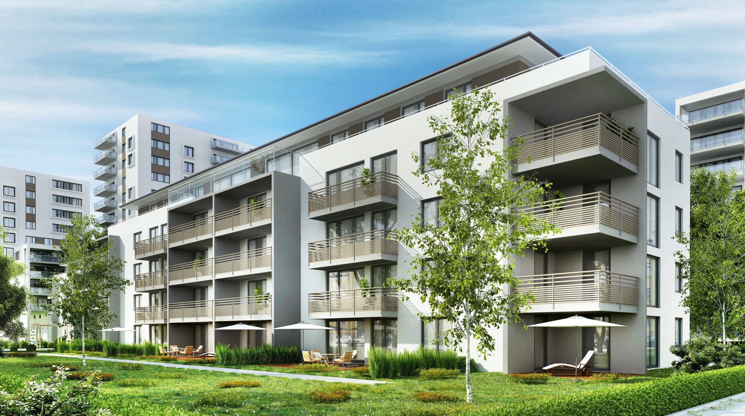 You're reading about six ways to invest in apartment buildings by Passive Income, MD. Pictured here is a modern apartment building, one example of a multifamily property.